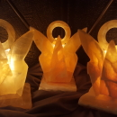"6"" Honeycomb calcite angels with attached electric light base - makes great night light!"